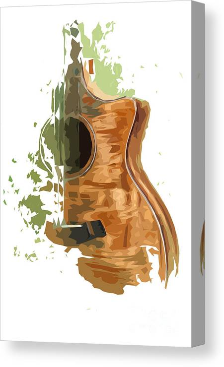 Blue Guitar Canvas Print featuring the digital art Guitar Green Background 4 by Drawspots Illustrations