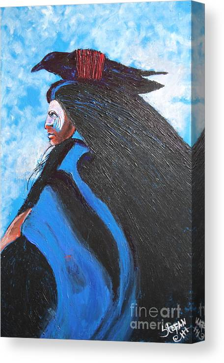 Impressionism Canvas Print featuring the painting One With Raven by Stefan Duncan