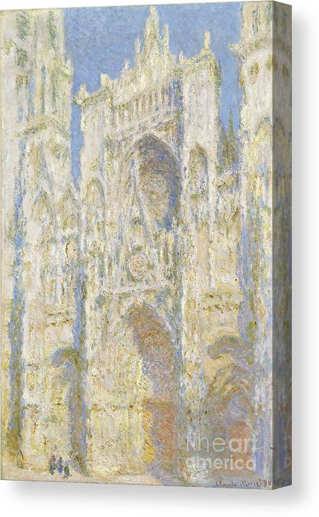Impressionist; Church; Gothic; Sun; Portal; Porch; Portico; Ouest; Soleil; Ensoleille Canvas Print featuring the painting Rouen Cathedral West Facade by Claude Monet