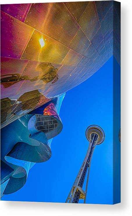 Space Needle Canvas Print featuring the photograph Space Needle And Emp In Perspective Hdr by Scott Campbell
