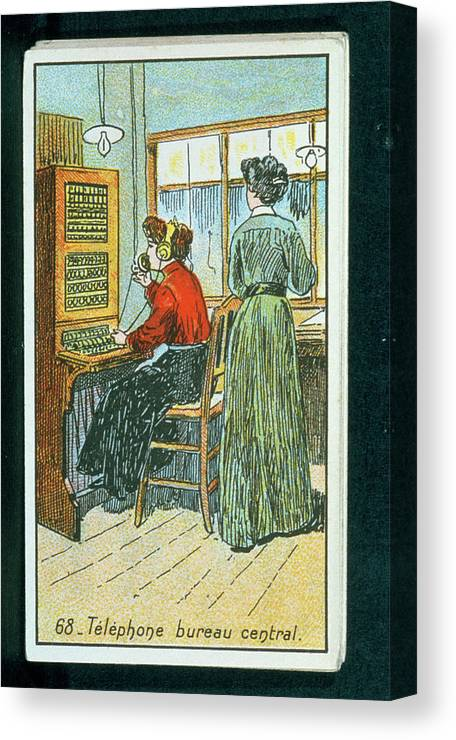 Telephone Canvas Print featuring the photograph Telephone Exchange by Jean-loup Charmet/science Photo Library