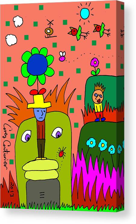 Doodle Art Canvas Print featuring the digital art Why So Blue by Corey Couturier