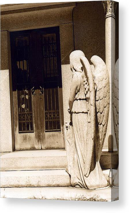 Angel Art Prints Canvas Print featuring the photograph Angel Outside Cemetery Mausoleum Door by Kathy Fornal