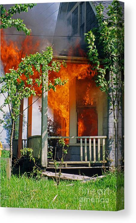 Fire Canvas Print featuring the photograph Burning House by Randy Harris