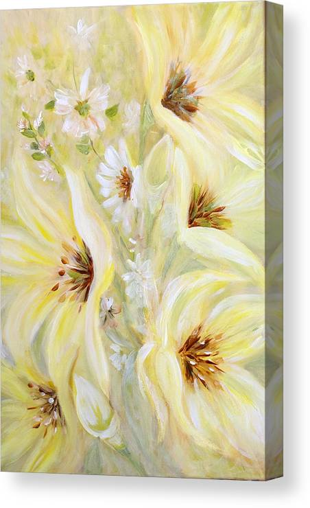 Lilies Canvas Print featuring the painting Lemon Chiffon by Joanne Smoley
