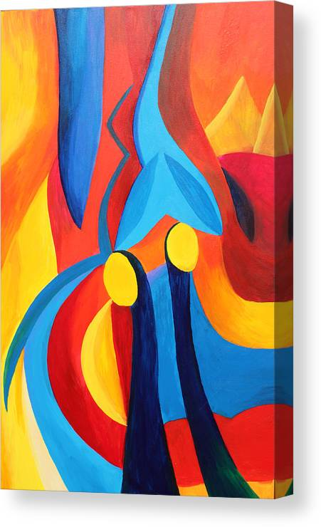 Abstract Canvas Print featuring the painting Meaningful by Peter Shor