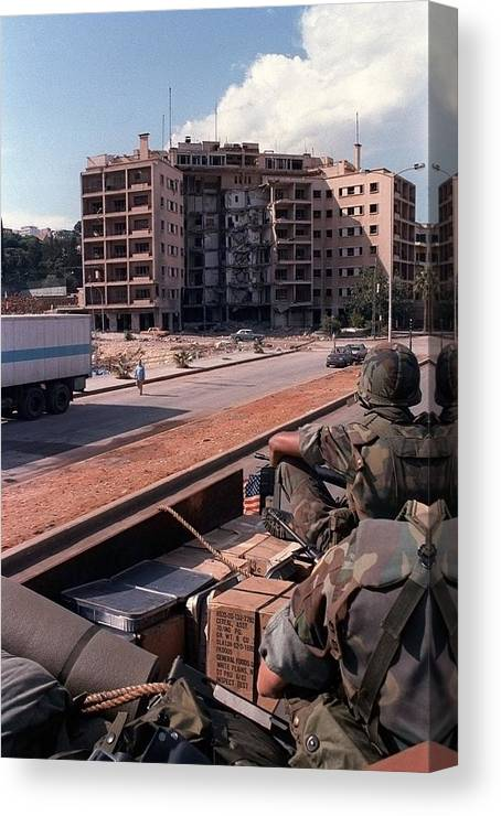 History Canvas Print featuring the photograph Us Embassy In Beirut Lebanon by Everett