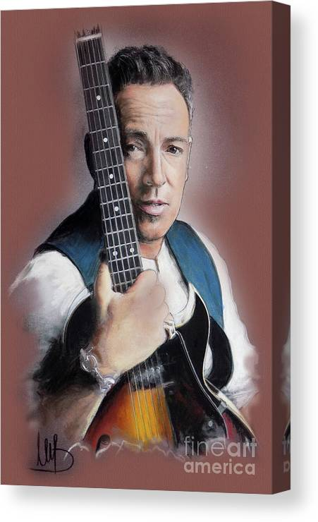 Bruce Springsteen Canvas Print featuring the painting Bruce Springsteen by Melanie D