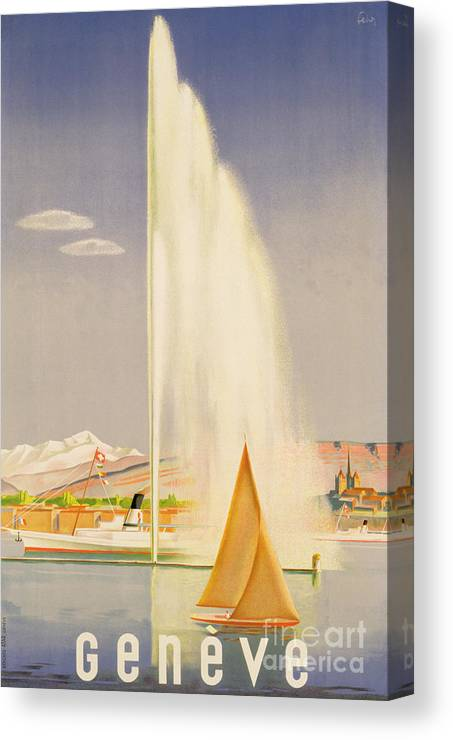 Advertisement For Travel To Geneva Canvas Print featuring the painting Advertisement For Travel To Geneva by Fehr