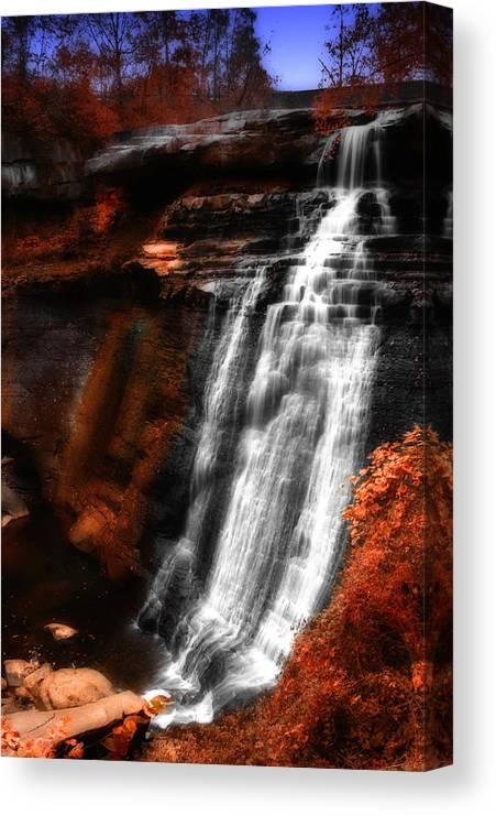 Autumn Canvas Print featuring the photograph Autumn Waterfall 3 by Kenneth Krolikowski
