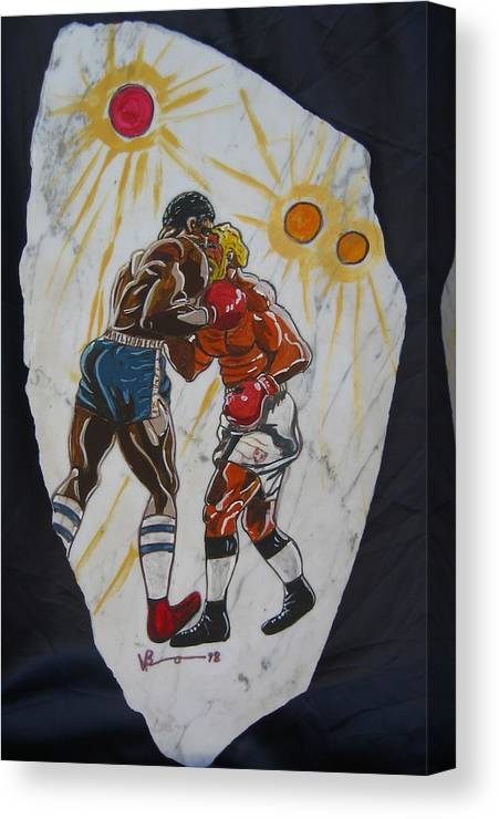 Boxing Canvas Print featuring the mixed media Black And White by V Boge