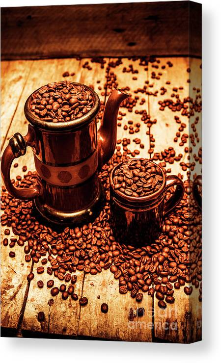 Hot Canvas Print featuring the photograph Ceramic Coffee Pot And Mug Overflowing With Beans by Jorgo Photography - Wall Art Gallery