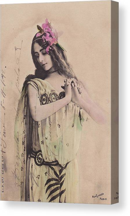 Cleo Canvas Print featuring the photograph Cleo De Merode by Reutlingers