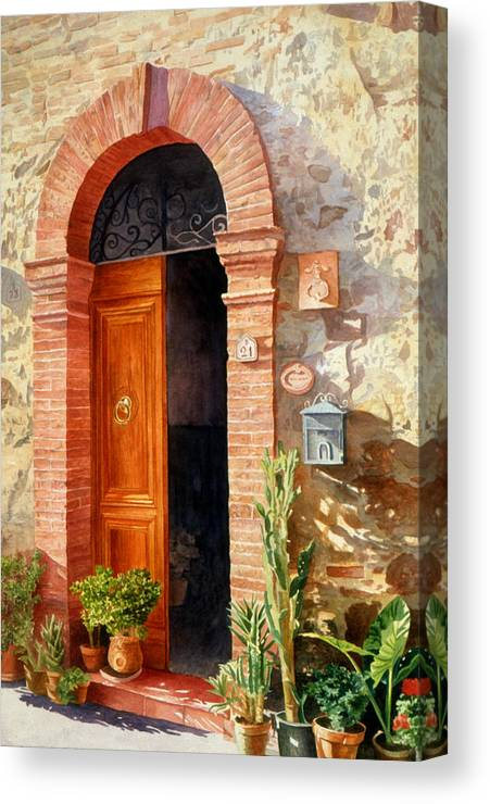 Tuscan Canvas Print featuring the painting Doorway In Tuscany Number 2 by Bob Nolin