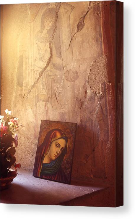 Art Canvas Print featuring the painting Greece. Lesvos. 16th Century Fresco And Virgin Mary Icon by Steve Outram