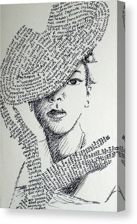 Hiding From Humanity Canvas Print featuring the drawing Language Of Cloth by Tanni Koens