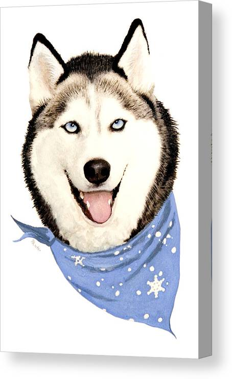 Siberian Husky Canvas Print featuring the painting Lets Go by Brent Ander