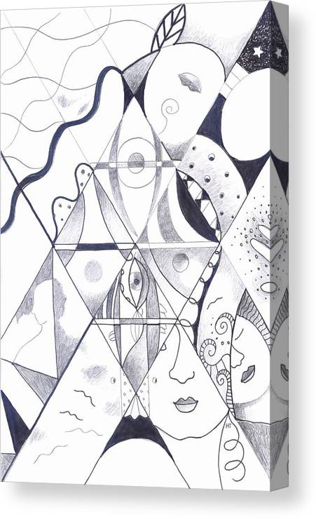 Card Art Canvas Print featuring the drawing Making Points In Multiple Perspectives by Helena Tiainen