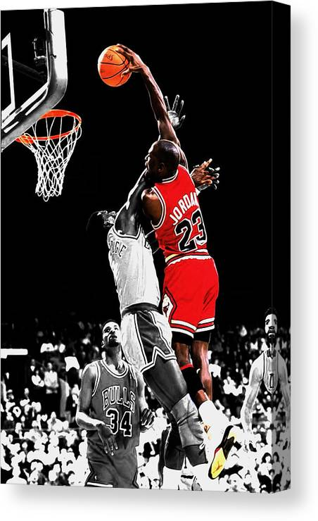 69deffa941be72 Michael Jordan Canvas Print featuring the mixed media Michael Jordan Power  Slam by Brian Reaves