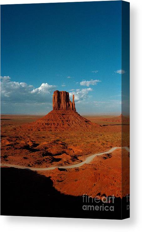 Landscape National Park Blue Sky Red Rock Cloud Canvas Print featuring the photograph Monument Park by Ty Lee