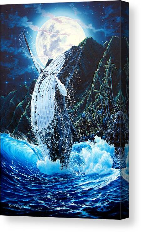 Dolphin Canvas Print featuring the painting Moondance by Daniel Bergren