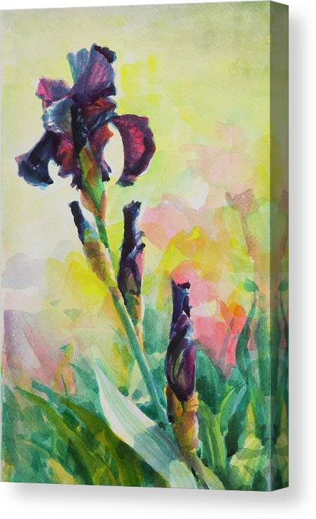 Flower Canvas Print featuring the painting Purple Iris by Steve Henderson