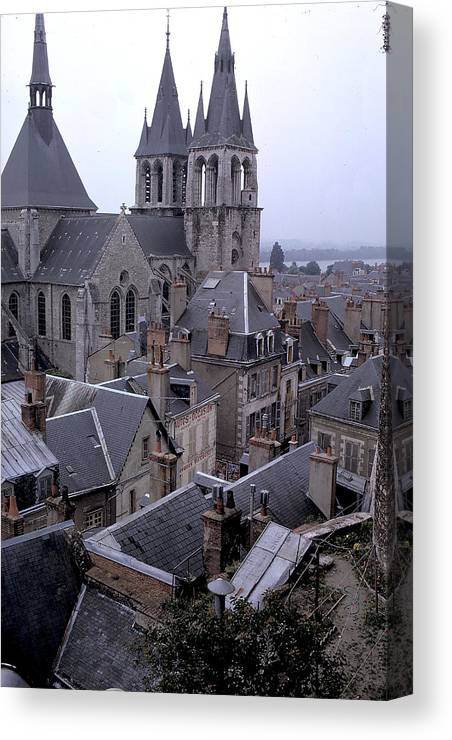Rooftops Canvas Print featuring the photograph Rooftops Of Blois In France 2 by Carl Purcell