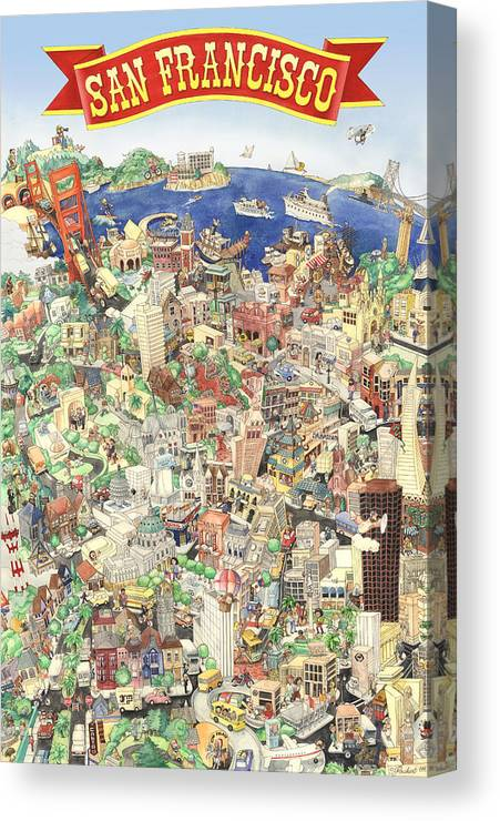 San Francisco Canvas Print featuring the painting San Francisco - Where East Meets West by Philippe Plouchart