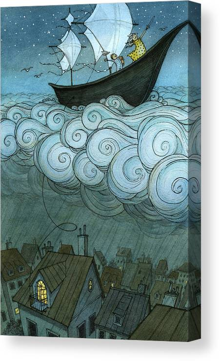 Canvas Print featuring the drawing Sky Sailing by Eliza Wheeler