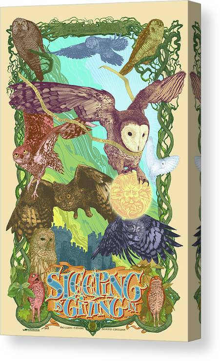 Owls Canvas Print featuring the digital art Sleepin Is Giving In by Nelson Dedos Garcia