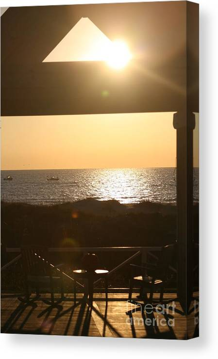 Sunrise Canvas Print featuring the photograph Sunrise Through The Pavilion by Nadine Rippelmeyer