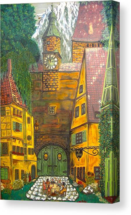 Switzerland Canvas Print featuring the painting Swiss Birthday Party by V Boge