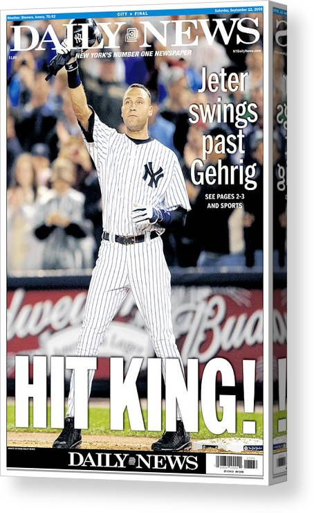 American League Baseball Canvas Print featuring the photograph Daily News September 12, 2009, Hit by New York Daily News Archive