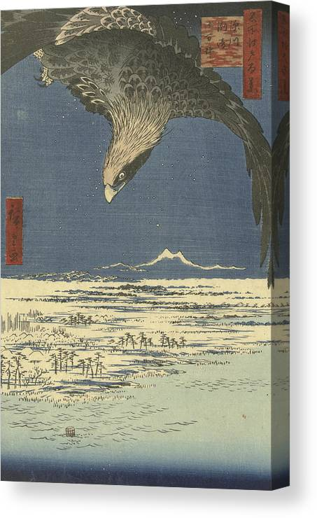 19th Century Art Canvas Print featuring the relief The Jumantsubo Plain At Susaki Near Fukagawa by Utagawa Hiroshige