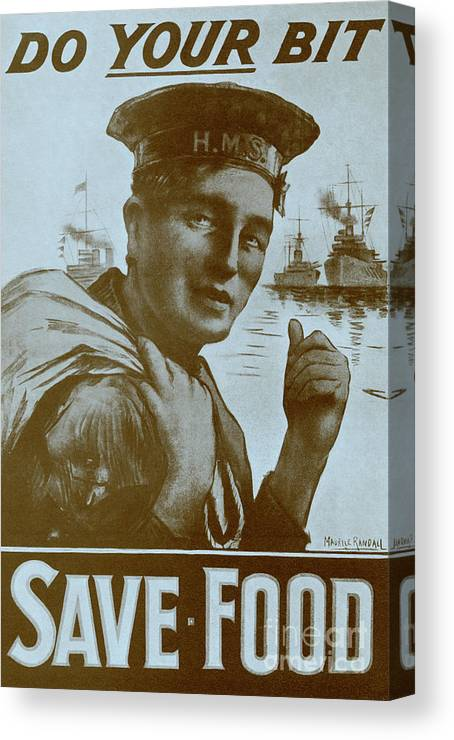 Do Your Bit Canvas Print featuring the drawing Vintage Poster Do Your Bit Save Food by English School