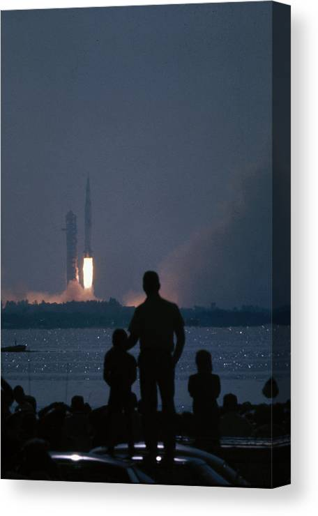 Timeincown Canvas Print featuring the photograph Watching The Apollo 11 Launch by Ralph Crane
