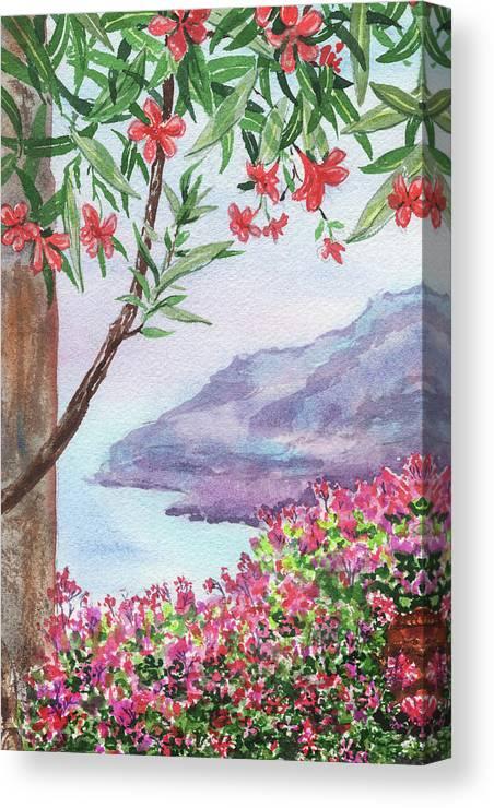 Harbor Canvas Print featuring the painting Overlooking Seashore Harbor by Irina Sztukowski