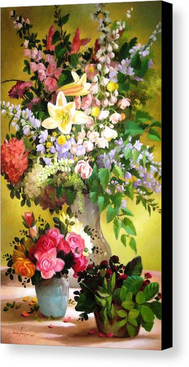 Francisco Jerome Canvas Print featuring the painting Rosy Blooms by Francisco Jerome