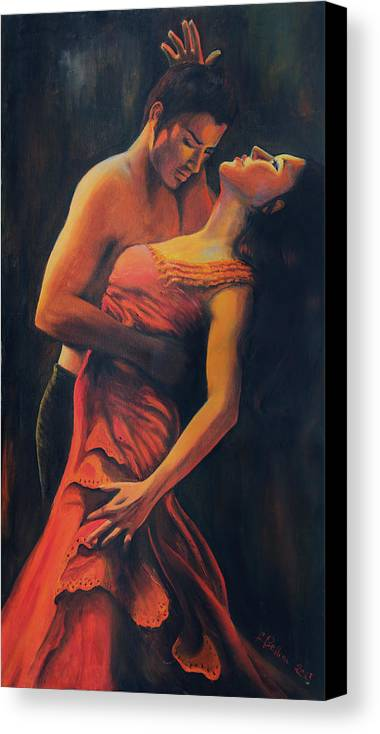 Tango Canvas Print featuring the painting Tango by Francesca Bellini