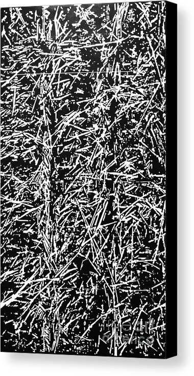 Art Etching Nature Branches Abstract Canvas Print featuring the painting Woodcut No5 by Dragan Sovilj