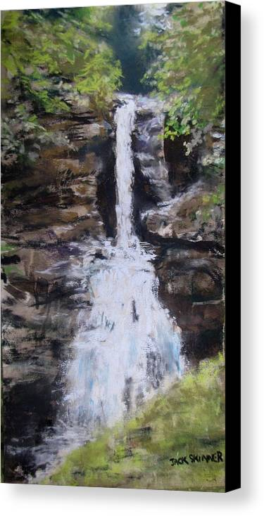 Waterfall Canvas Print featuring the painting Woodland Waterfall by Jack Skinner