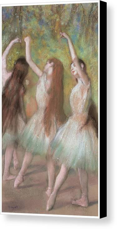 Green Dancers Canvas Print featuring the pastel Green Dancers by Edgar Degas