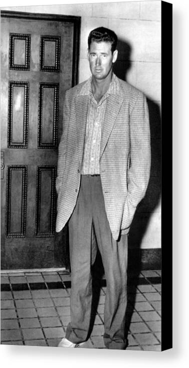 1950s Candids Canvas Print featuring the photograph Ted Williams Outside A Miami Court Room by Everett