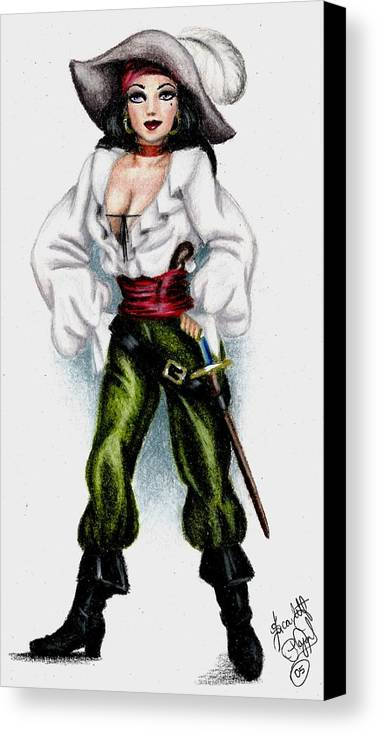 Pirate Canvas Print featuring the drawing Pirate by Scarlett Royal