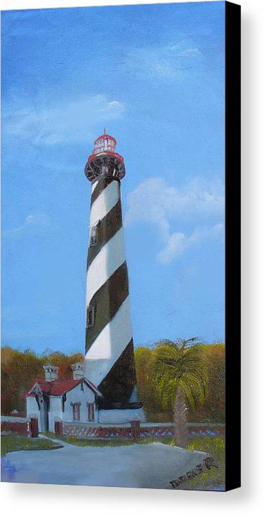 Lighthouse Canvas Print featuring the painting St Augusstine Lighthouse by Darlene Green