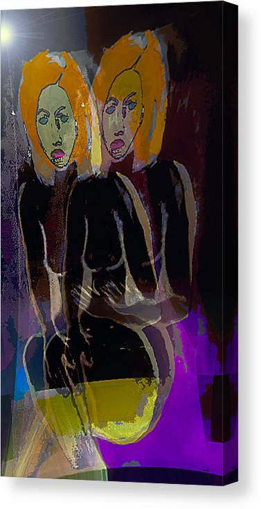 One Person Canvas Print featuring the painting Solo Show by Noredin Morgan