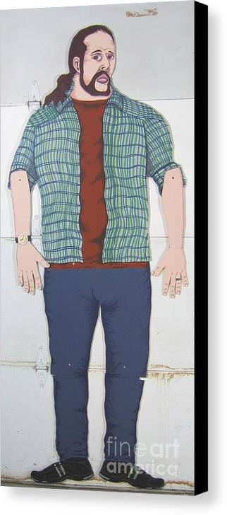 Self Portrait Canvas Print featuring the mixed media Self Portrait In Full Scale by Mack Galixtar