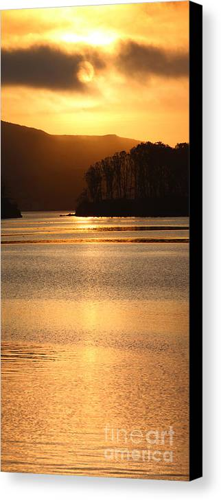 Tomales Bay Canvas Print featuring the photograph Sunset Reflections Tomales Bay In Marin County California by Wernher Krutein
