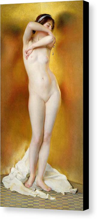 Female Canvas Print featuring the painting Glow Of Gold Gleam Of Pearl by William McGregor Paxton
