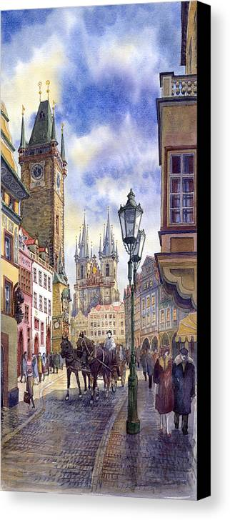 Watercolour Canvas Print featuring the painting Prague Old Town Square 01 by Yuriy Shevchuk
